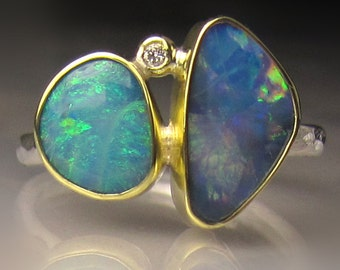 Opal Ring, Boulder Opal Ring, 18k Yellow Gold and Sterling Silver Australian Opal Ring