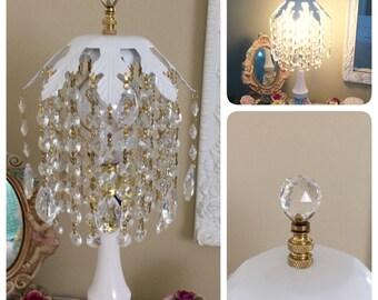 Clip on Tole WATERFALL Chandelier Prisms LAMP SHADE Crystal Ball Finial For Standard Edison Base Lightbulb ~ Original Design