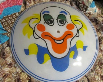Vintage CIRCUS CLOWN Glass Ceiling Light Shade