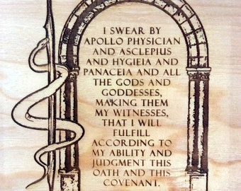 6x6 unfinished wooden plaque with preamble to the Hippocratic Oath