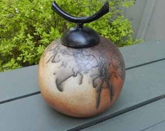 Rust and Buff Horsehair Raku Urn or Decorator Jar