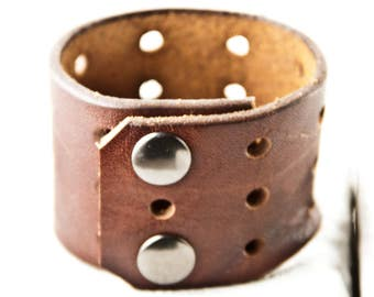 Brown Leather Jewelry Plain Cuff Vintage Retro Christmas Holiday