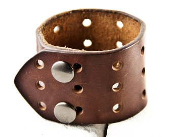 Brown Leather Bracelet Plain Simple Wrist Cuff Retro
