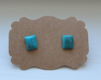 Turquoise Rectangle Studs, Genuine Turquoise, Genuine Turquoise Post, Sterling Silver, Sterling Turquoise Earrings, Turquoise Jewelry #2