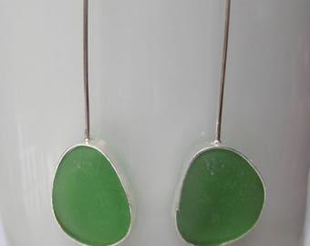 Sea Glass Earrings - Green Sea Glass and Sterling Silver Earrings