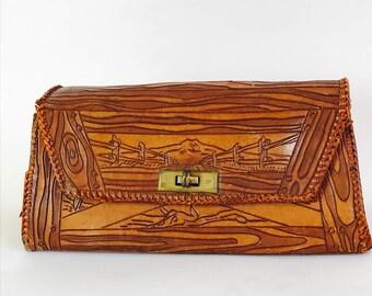 Vintage 40s bag, 1940s Tooled Handbag, Leather purse, Faux Bois Wood Grain, brown leather clutch, Western theme bag, Cactus Skull Bones