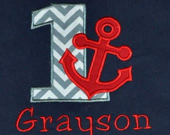 Birthday Boy Outfit - Monogrammed/Personalized First Birthday Grey and Red Nautical Anchor Appliqued Navy T-shirt, Size 12 month - 24 month