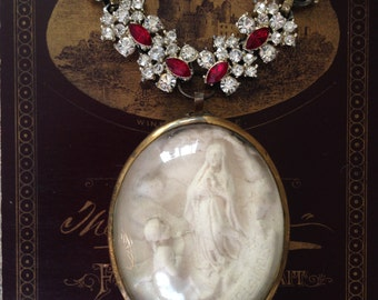 Antique  French Religious Meerschaum Pendant Necklace, Hand Carved Our Lady Of Lourdes Assemblage