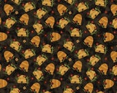 NEW Bear Paws Quilt Craft Fabric One Yard Cut of Bee Skeps on Black