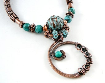 Circle Pendant Necklace, 7th Anniversary Gift, Southwest Jewelry, Nickel Free Jewelry, Wire Wrapped Jewelry, Turquoise Bead Necklace, OOAK