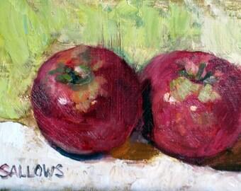 Original Oil Painting 5x7 Fine Art Painterly Framed Still Life Apples Sallows DFAT