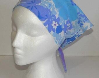 Triangle Kerchief, Adult Triangle Head Scarf, Bandana, Upcycled Vinatge Fabric