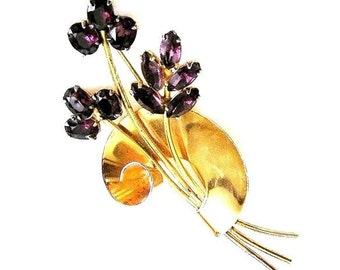 Coro Sterling Pegasus Tall Amethyst Flower Brooch