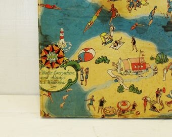 Vintage Swim Mattress Box, Beach, Lake, Coastal, Cabin Decor, Ho - Hum Swim Mattress, US Rubber Products, Great Graphics, Large Storage Box