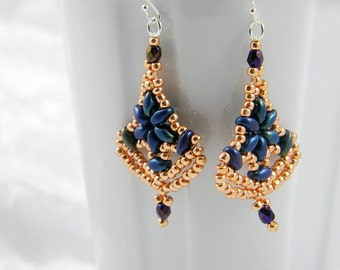 "READY TO SHIP Superduo Beadweaving Sterling Silver Beadweaving Earrings ""Nanette"""