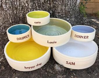 SMALL Dog Bowl, Cat Dish, Personalized,  Dog Bowl, Ceramic Dog Bowl, Custom, Pet Bowl, Food, Water, Pottery