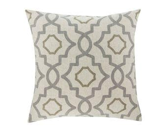 NEUTRAL Brown Grey Pillow Cover.Decorator Pillow Cover.Home Decor.Large Print. TALBOT METAL. Cushions. Cushion.Pillow. Premier Prints