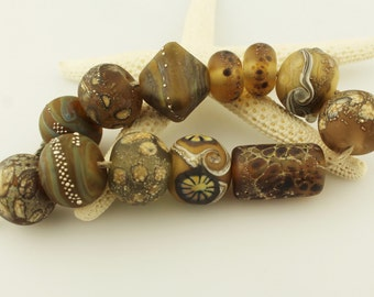 Lampwork Beads Set  Organic, Etched Matte,  Brown, Gold, Topaz,  Silver, Tan