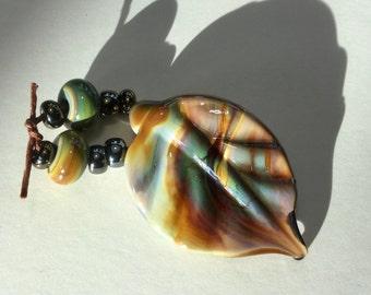 Lampwork Glass Bead, Leaves Fall Colors  Raku