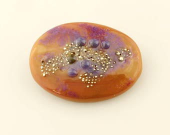 Lampwork Glass Oval Cabochon, SRA Focal for Beadwork or Bezel, Brown, Purple, Silver