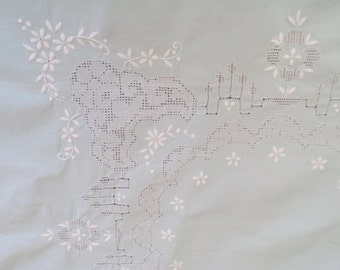 small tablecloth, INCREDIBLE COLOUR, aqua colour, exceptional embroidery, 50s home, 50s linens, cutwork and whitework
