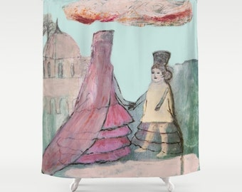 Shower Curtain Art, home decor, from painting, bathroom decor, polyester curtain, colourful, andalusian girls, spanish art