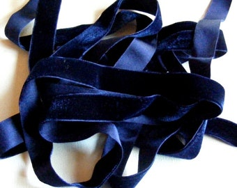 Vintage 1930's Silk Charmeuse Velvet Ribbon 3/4 Inch Navy Blue