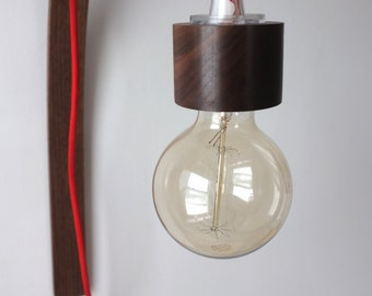 Walnut Bent Wood Wall Lamp with Red Cloth Cord