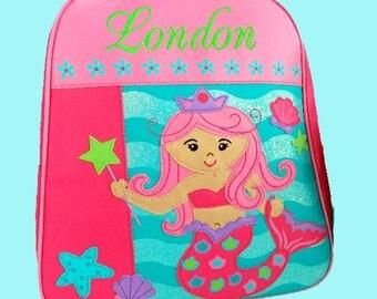 Personalized Stephen Joseph GoGo Backpack MERMAID Themed Bag