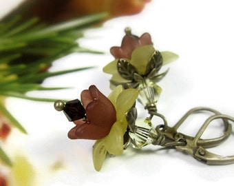 Sunflower Flower Earrings, Swarovski Crystal, Mocha Brown, Jonquil Yellow, Lucite Flower Earrings, Antique Brass Jewelry Gifts for Gardeners