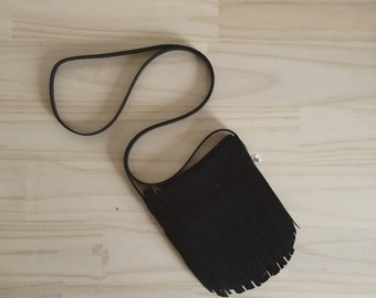 Black Fringe Bag, Fringe Crossbody Bag, Bohemian Crossbody Purse