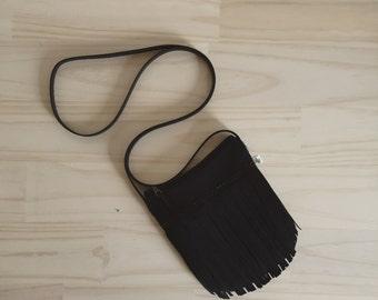Black Fringe Bag, Fringe Crossbody Bag, Bohemian Crossbody Purse