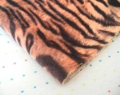 Brown, Orange and Black Tiger Print Suede Cloth Fabric, Soft Suede, Suedecloth, Animal Print Fabric - 3 Yards