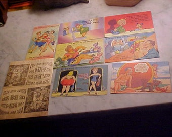 Lot Vintage 40s Postcards Funny DIET Weight Loss,Guys & Gals 2 Wooden