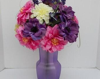 Silk Flower, Floral Arrangement in Opaque Glass Container
