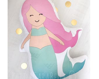Mermaid cushion pillow. Soft cotton, pale mint green and soft pink print. Perfect to brighten up any nursery or little girls room. Handmade