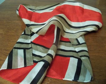 striped Demaro long silky scarf red black and taupe
