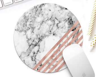 White marble and rose gold mouse pad for her, Rose gold geometric mouse mat desk accessory, Rose gold office decor, coworker gift for her