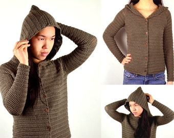 Hooded Cardigan Sweater - 9 Sizes - PDF Crochet Pattern - Instant Download