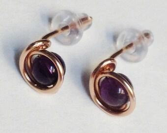 Amethyst Earrings  Amethyst Stud Earrings   Amethyst Post Earrings   Amethyst 14K Rose Gold Filled Wire Wrap Post Stud Earrings