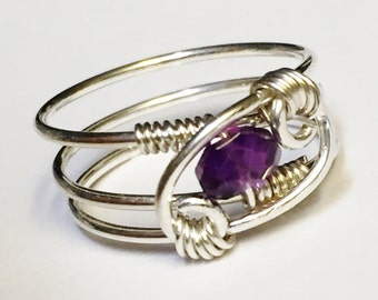 Amethyst Ring  Amethyst Jewelry  February Birthstone  Sterling Rings for Women  Silver Ring  Sterling Silver