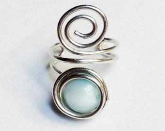 Larimar Ear Cuff  Larimar Earcuff  Larimar Jewelry  Larimar Gemstone Larimar Ear Wrap  Sterling Silver