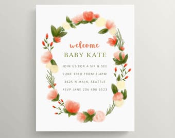 floral wreath sip and see invitation // baby shower invitation set // baby announcement // modern invite // meet baby // new baby