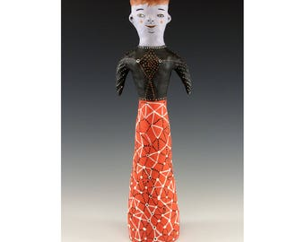 Carrie - Ceramic Sculpture - Sculpted Ceramic Lady by Jenny Mendes