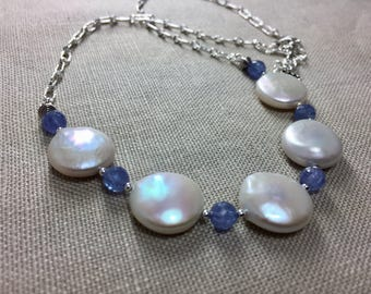 Freshwater Coin Pearl and Tanzanite Necklace in Sterling Silver