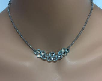 Labradorite Necklace with Aquamarine Briolettes in Sterling Silver