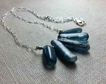 Blue Kyanite Stick Necklace in Sterling Silver