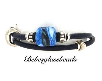 Bebe's Boro Beads Wrapped Navy Leather Bracelet Magnetic Silver Clasp Medium