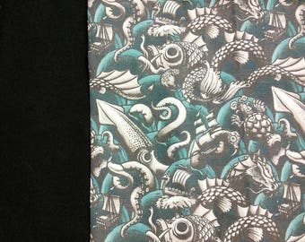 Sea Monsters Panel Shirt, Choose Your Size Men's Small up to 6 X