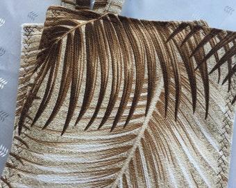 Elegant Bark Cloth Cotton Pot Holders, Palm Leaf Design, Chocolate and Cream Colors, Kitchen, Dining, Home, Living, Cotton, Trivets